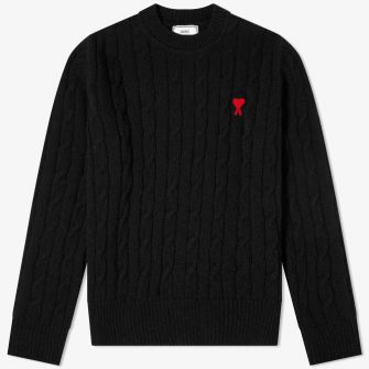 AMI HEART CABLE CREW KNIT BLACK