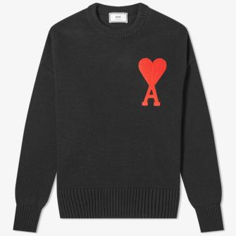 AMI LARGE A HEART CREW KNIT BLACK