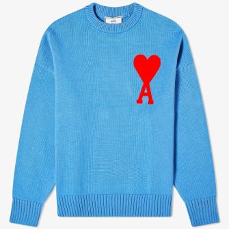AMI LARGE A HEART CREW KNIT BLUE