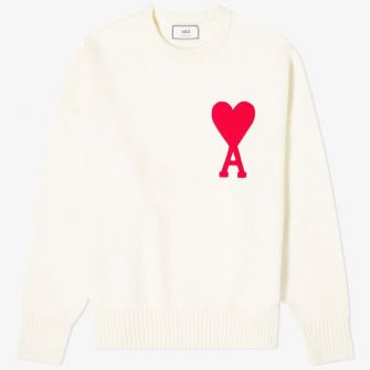 AMI LARGE A HEART CREW KNIT WHITE