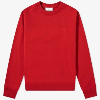 AMI SMALL A HEART CREW SWEAT RED