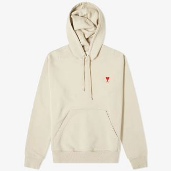 AMI SMALL A HEART POPOVER HOODY BEIGE