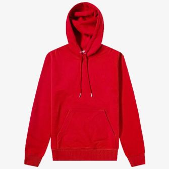 AMI SMALL A HEART POPOVER HOODY RED
