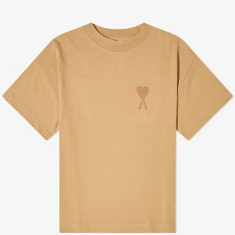 AMI TONE ON TONE EMBROIDERED HEART TEE BROWN