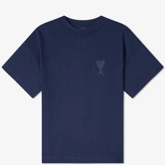 AMI TONE ON TONE EMBROIDERED HEART TEE NAVY