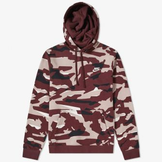 NIKE CLUB CAMO PULLOVER HOODY RED