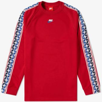 NIKE LONG SLEEVE TAPED POLY TEE GYM RED & SAIL
